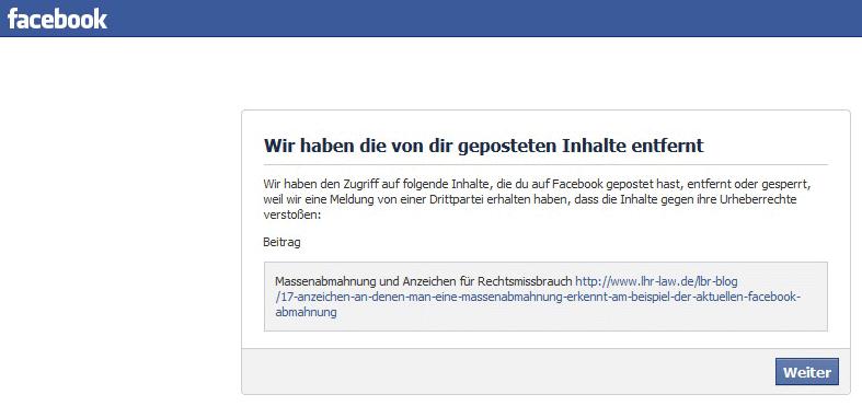 Facebook Beschwerde Löschung