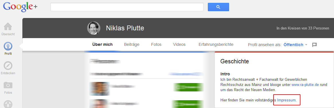 Google Plus Impressum