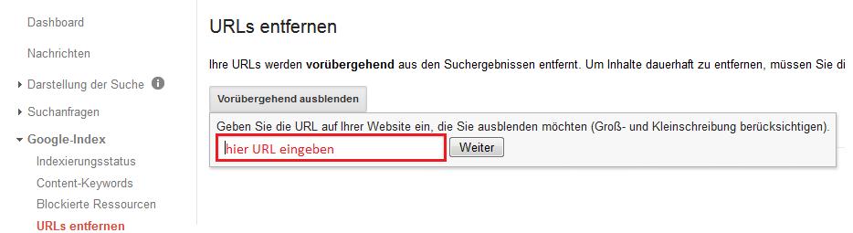 URL über Google Search Console entfernen