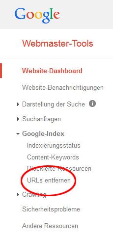 Antrag auf Entfernung von URL aus Google Index