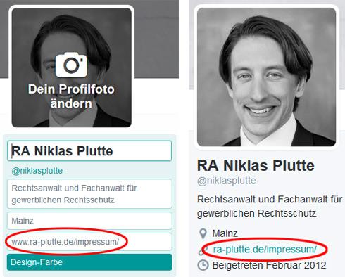 Impressum bei Twitter - Bearbeitungsmodus und öffentliches Profil