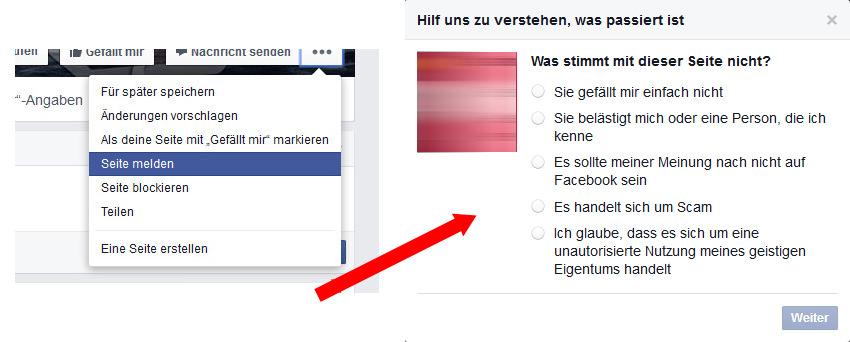 Facebook Inhalte melden