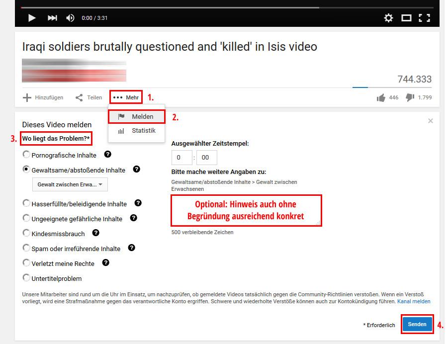 Meldung von YouTube Videos