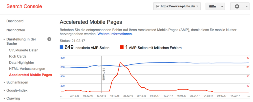 AMP Darstellung in der Google Search Console