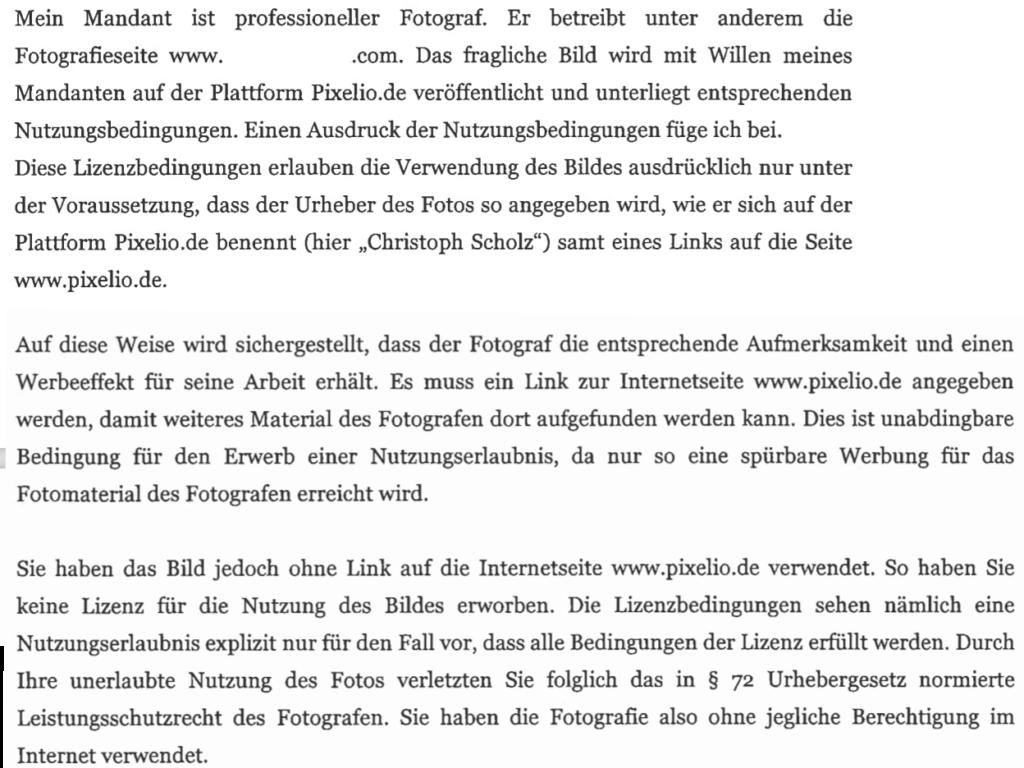Pixelio Abmahnung der Kanzlei Schroeder für Christoph Scholz