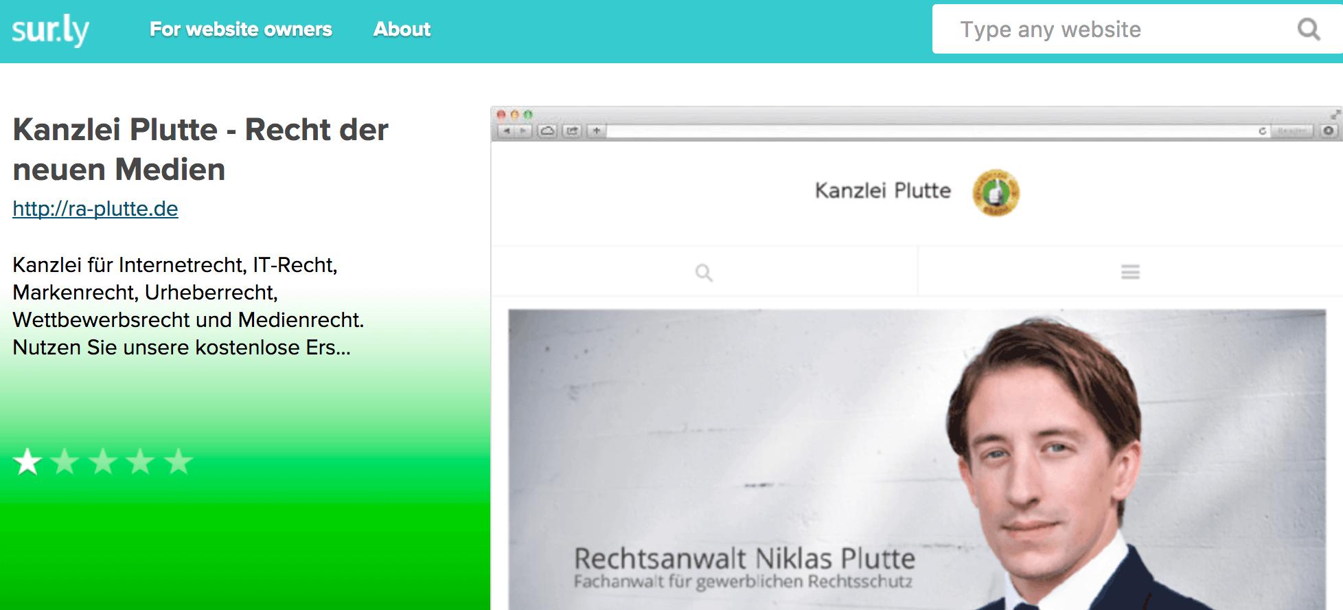 Screenshot Kanzlei Plutte bei http://sur.ly