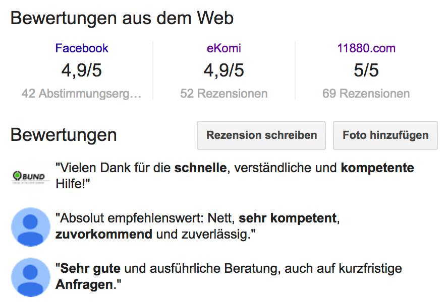 Online Bewertungen zu unserer Kanzlei (Stand 13.08.2017)