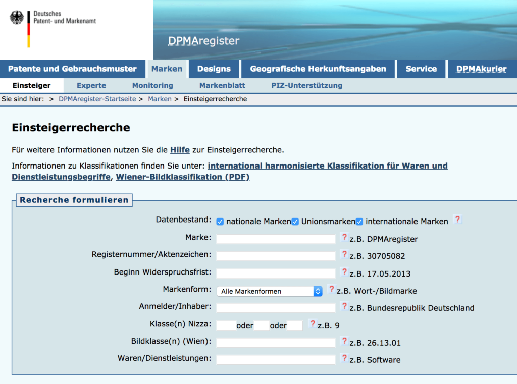 Markenregister DPMA